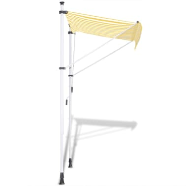 vidaXL Manual Retractable Awning Yellow & White 300 cm