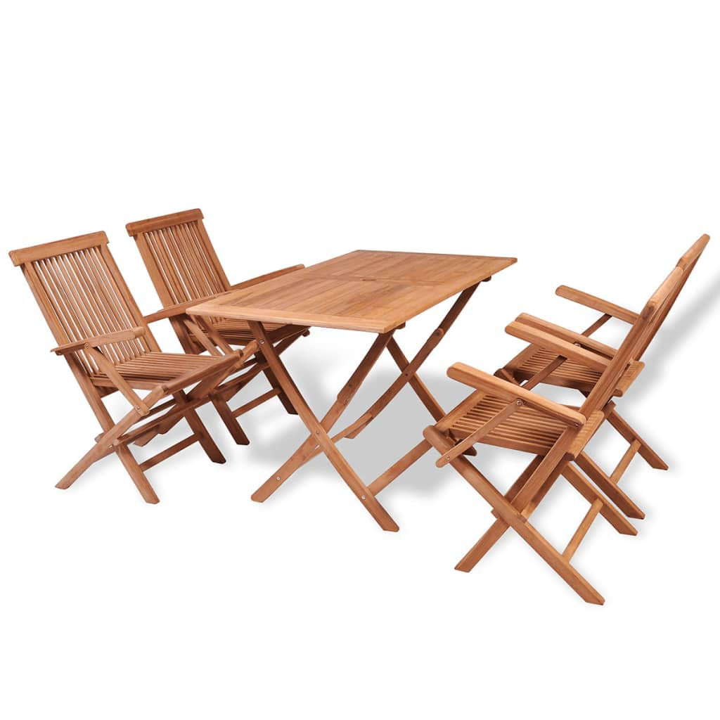 teak table and chairs garden picnic time portable folding sports chair 5 pcs outdoor foldable wooden dining set 4 arm details about patio