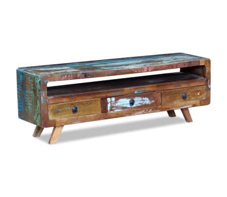 vidaxl meuble tv avec 3 tiroirs bois de recuperation massif