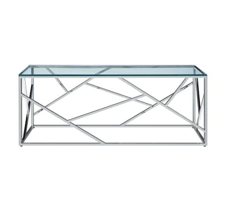 vidaxl table basse transparent 120x60x40 cm verre trempe et inox