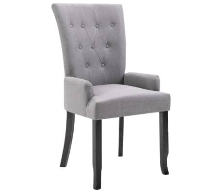 vidaxl chaise de salle a manger avec accoudoirs gris clair tissu
