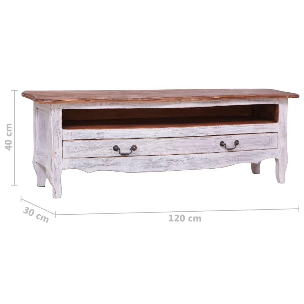 meuble tv 120 x 30 x 40 cm blanc bois de recuperation massif tiptop co