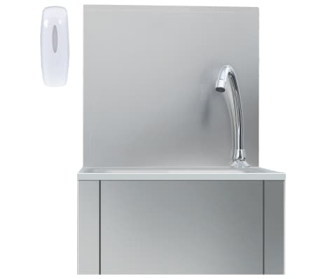 vidaxl hand wash sink with faucet and soap dispenser stainless steel