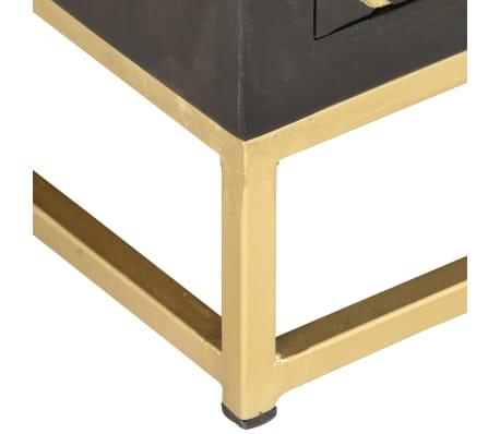 vidaxl meuble tv noir et dore 120 x 30 x 40 cm bois massif de manguier