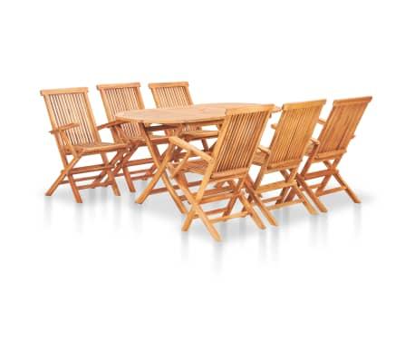 vidaxl 7 piece folding outdoor dining set solid teak wood