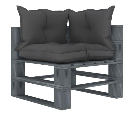 vidaxl canape d angle palette de jardin avec coussins noir bois