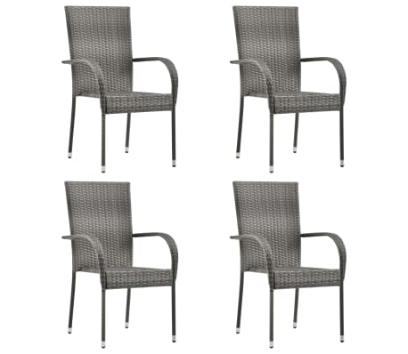 vidaxl stackable outdoor chairs 4 pcs gray poly rattan