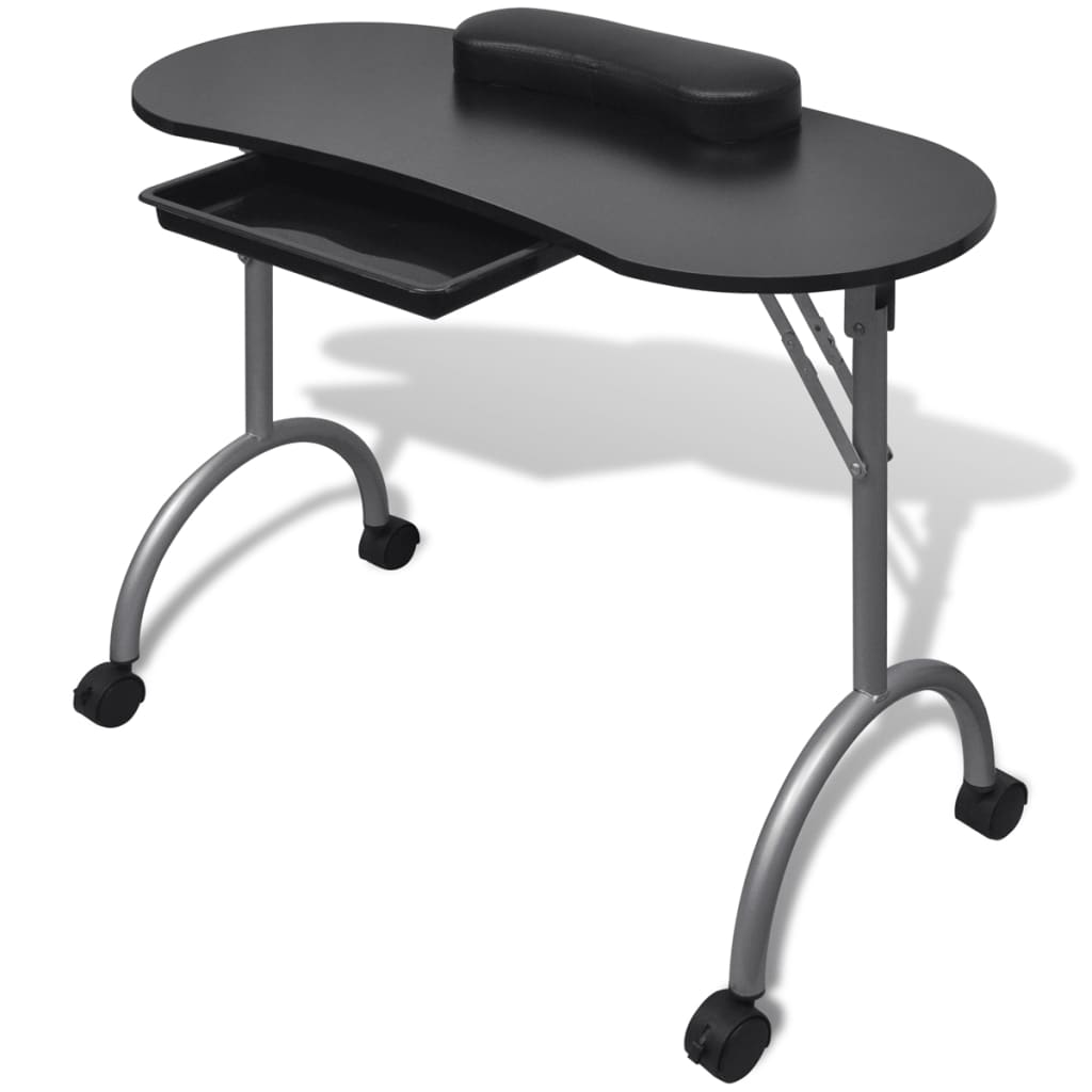 Mesa de manicura plegable con ruedas Negro  vidaXLes