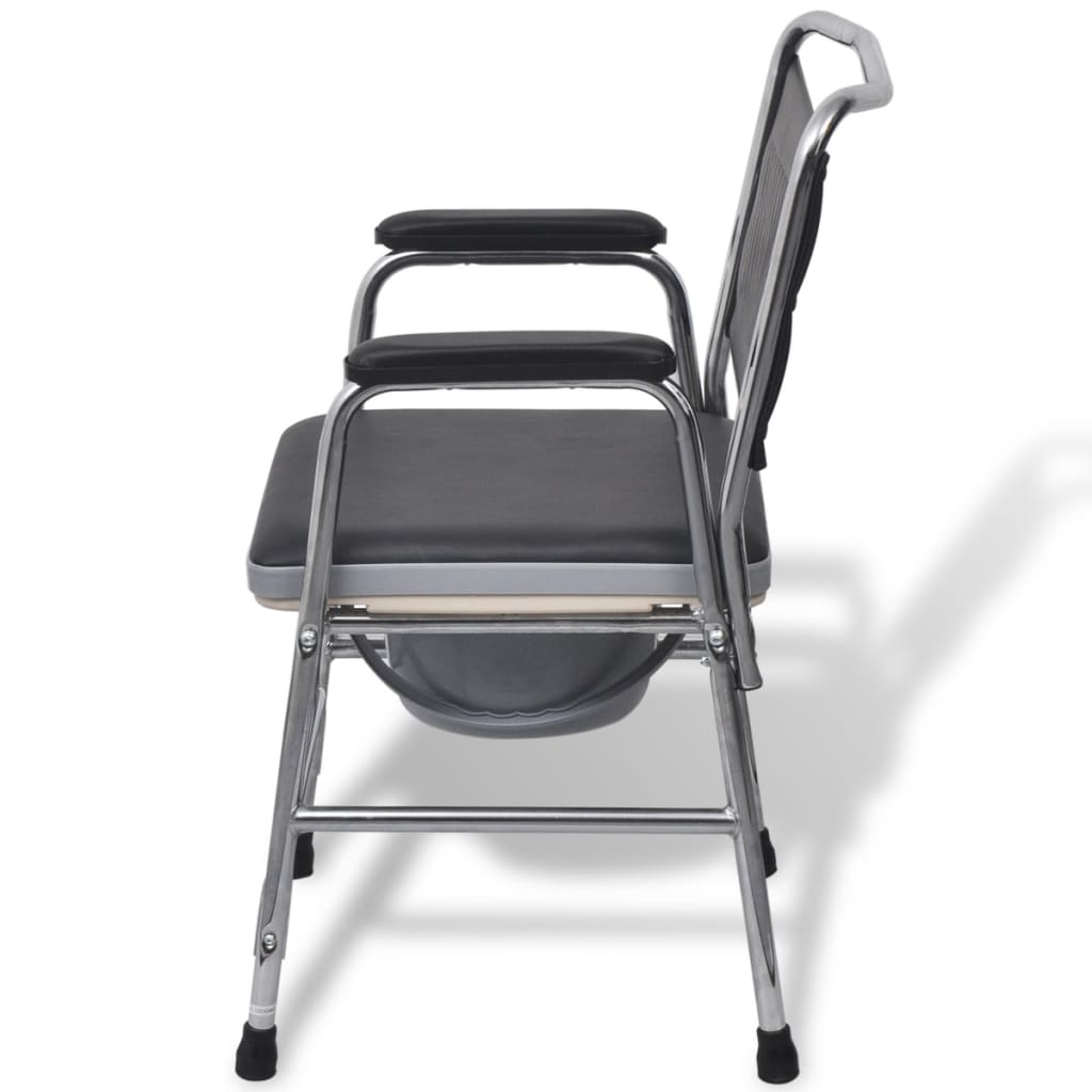 commode chair uk swivel hunting with backrest vidaxl steel black co