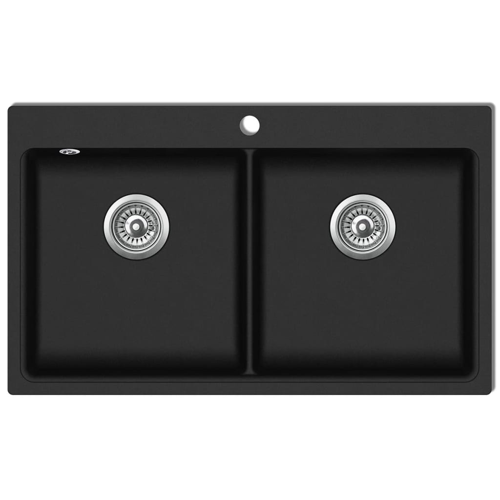 overmount kitchen sink home depot appliance packages double basin granite black vidaxl