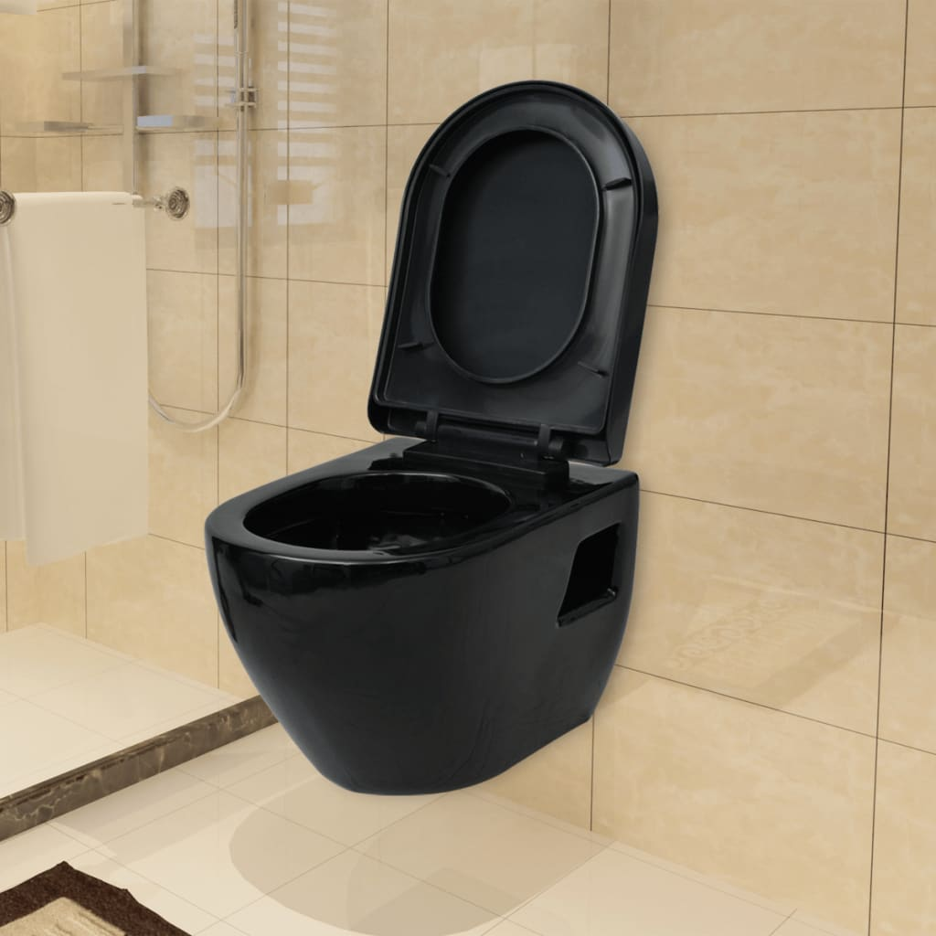 function accessories chair covers portable back massager for vidaxl wall-hung toilet ceramic black | vidaxl.co.uk