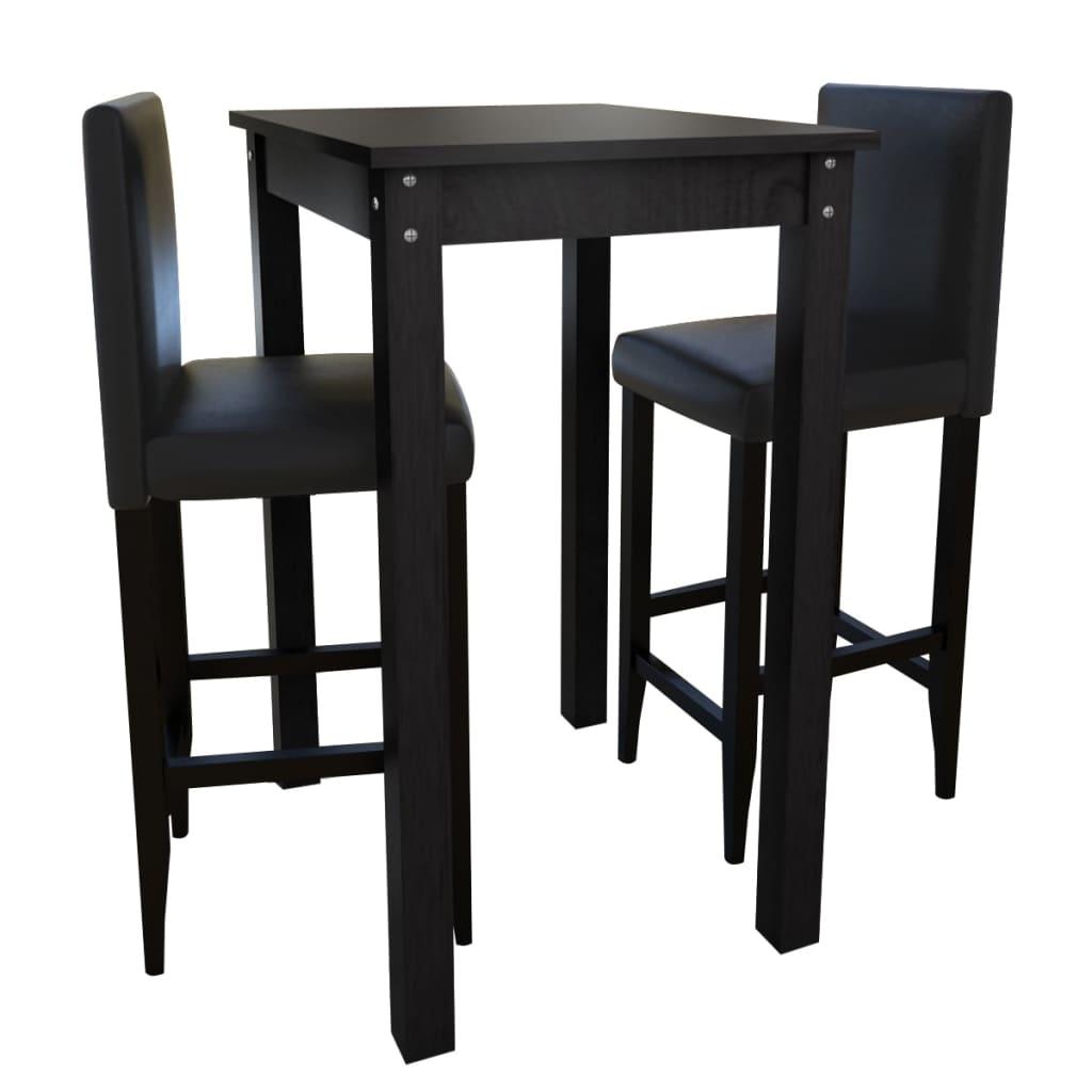 vidaXL Mesa de bar con 2 sillas de barra negras  vidaXLes
