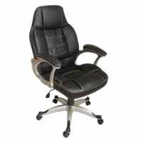 Black Office Chair High Back Real Leather