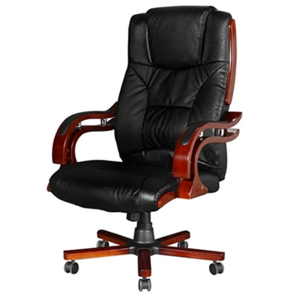 Real Leather Office Chair Black Real Leather Office Chair High Back Vidaxl