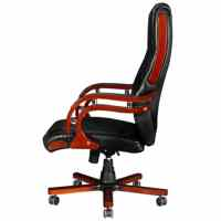 Black Real Leather Office Chair High Back