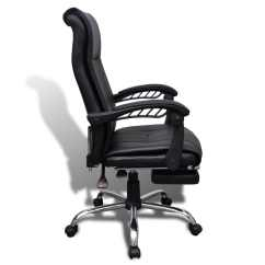 Ergonomic Chair With Footrest Jennifer Convertibles Reclining Chairs Black Artificial Leather Office Adjustable