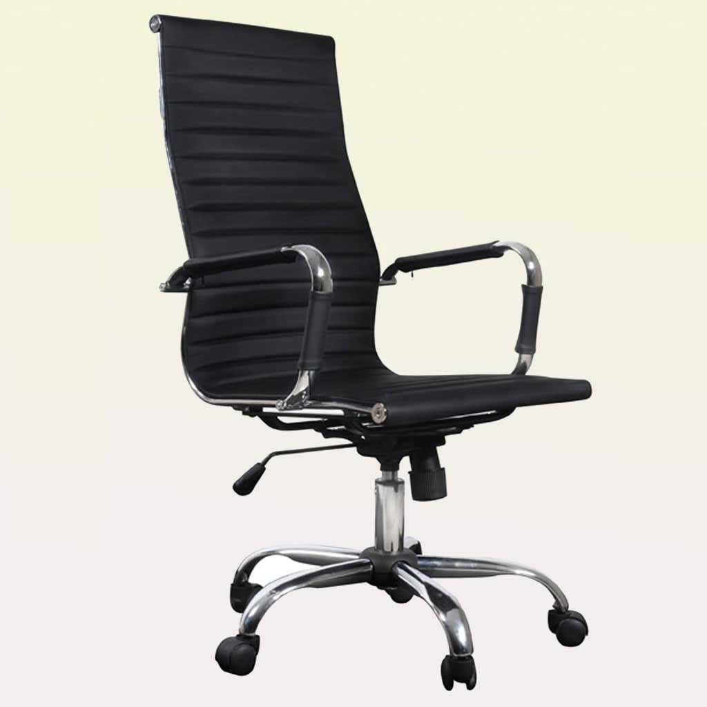 black leather office chair high back bedroom freedom faux computer pc recliner upholstered adjustable tilting