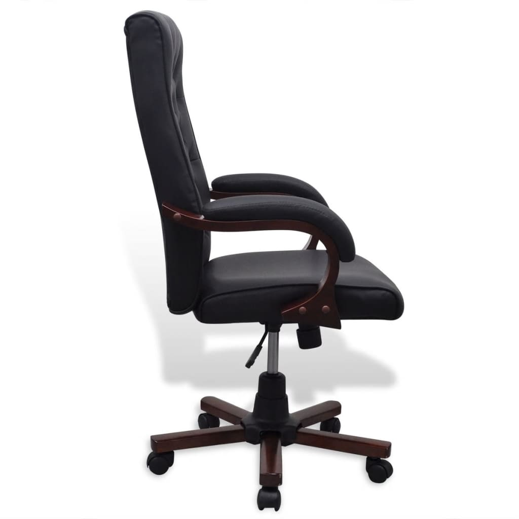 hair on hide office chair with adjustable arms chesterfield artificial leather black