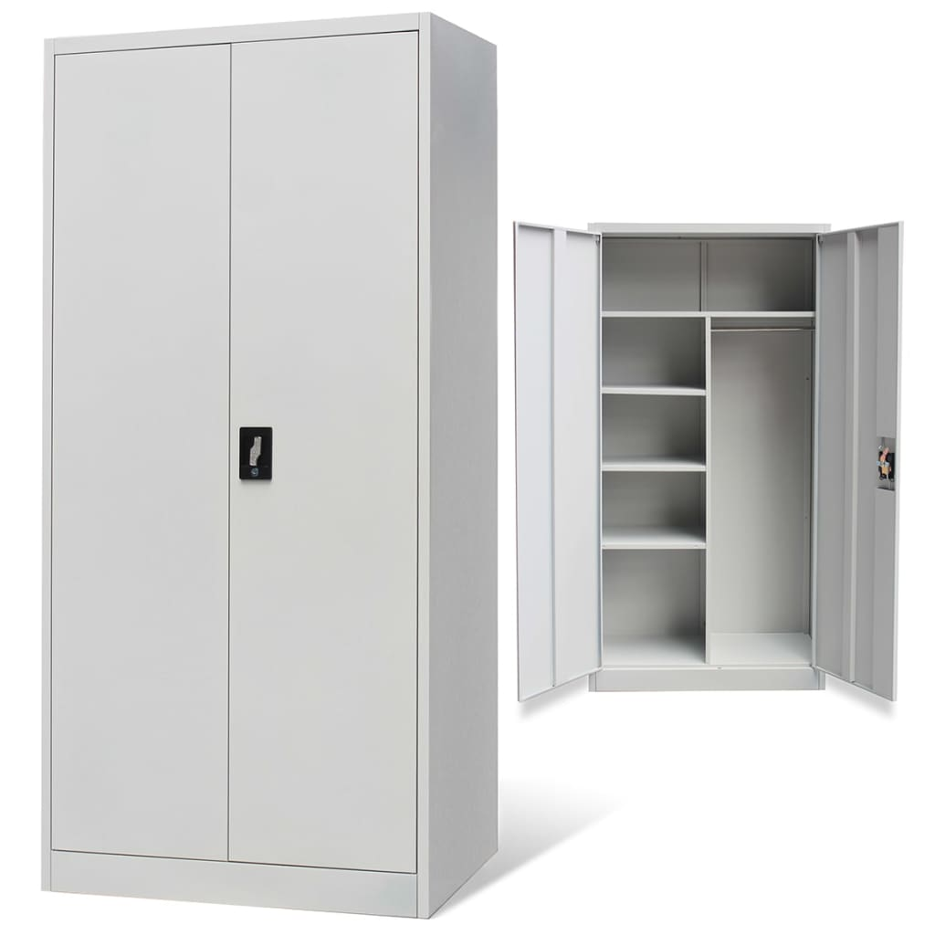 Metal Lockerstyle Cabinet 2 Doors Grey  vidaXLcouk