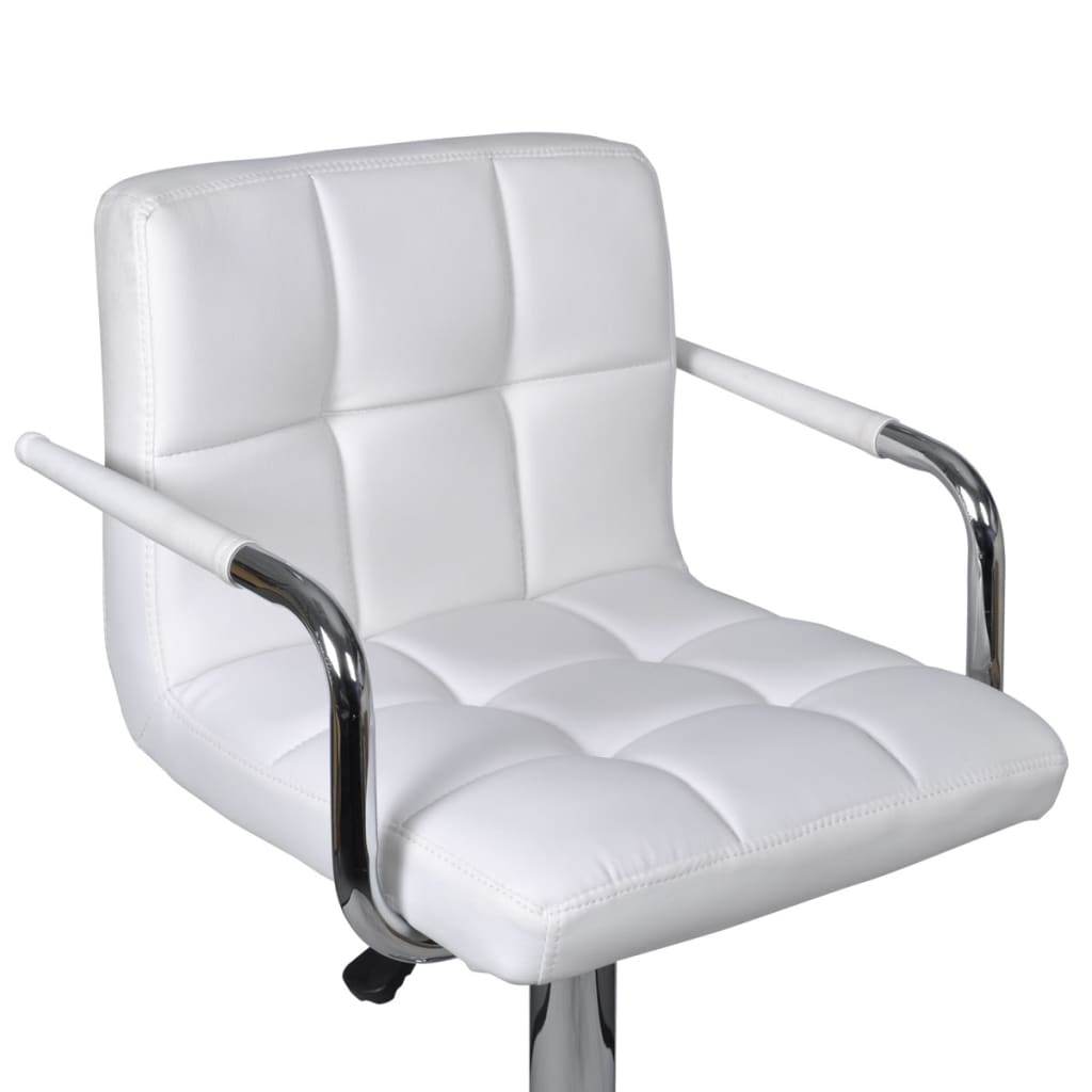 white leather bar chair covers nz hire vidaxl 2x stool kitchen dining arm