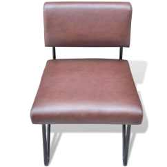 Tan Leather Dining Chairs Melbourne Upholstered Chair With Acrylic Legs Luxurious Sofa Artificial Brown Vidaxl Au
