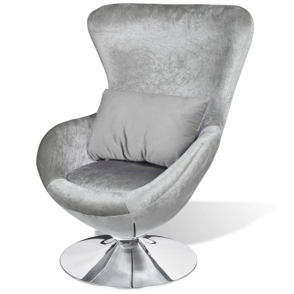 swivel chair egg ergonomic cebu small silver with cushion vidaxl au