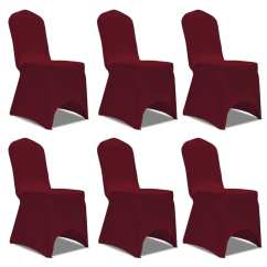 Chair Covers Set Of 6 Bar Height Cover Stretch Burgundy Pcs Vidaxl Co Uk