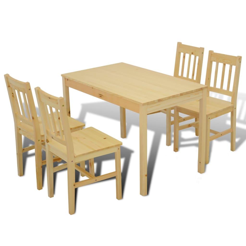 Houten eetkamertafel met vier stoelen naturel online