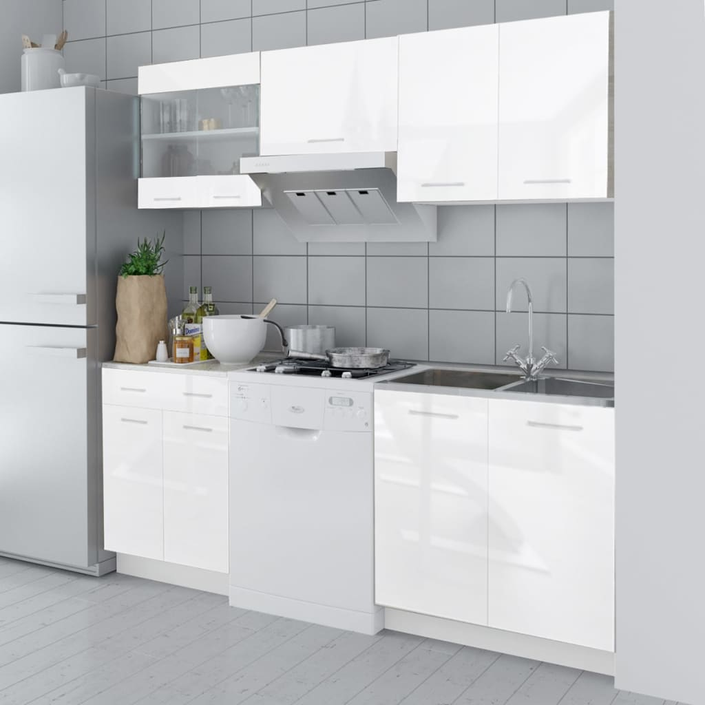 kitchen cabinet unit faucet installation cost 5 pcs high gloss white 200 cm