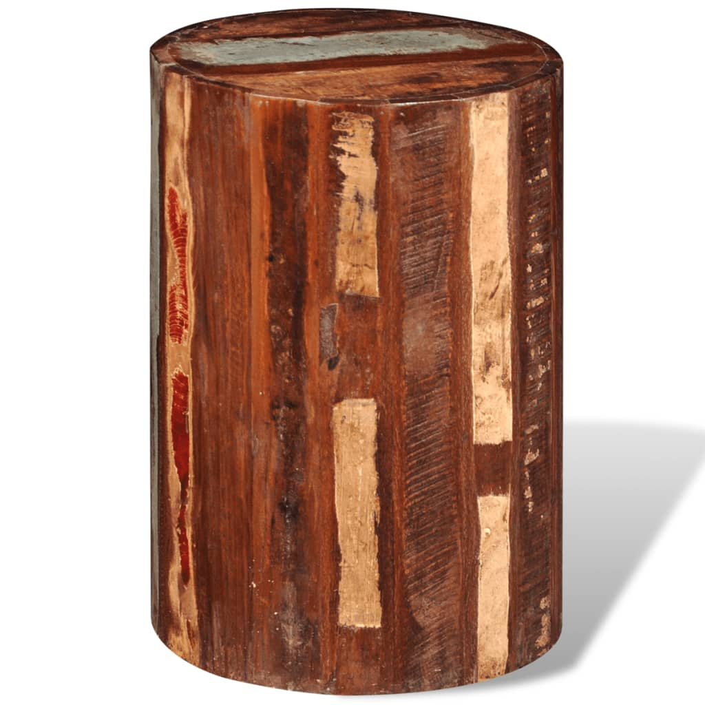 Reclaimed Solid Wood Cylinder Stool  vidaXLcouk