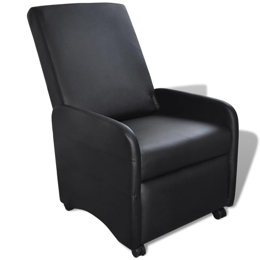 vidaXL Silla reclinable plegable de cuero artificial negra
