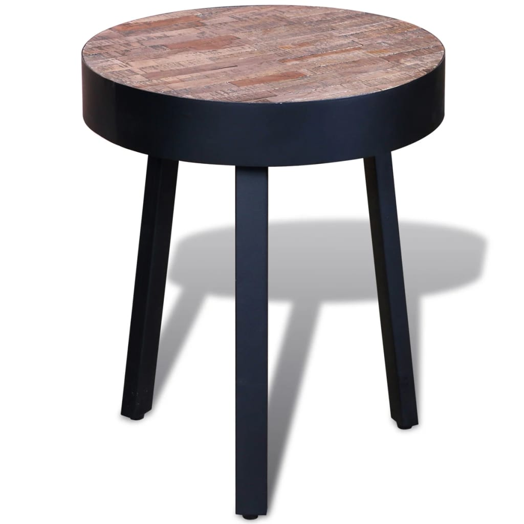 Side Table Round Reclaimed Teak  vidaXLcouk