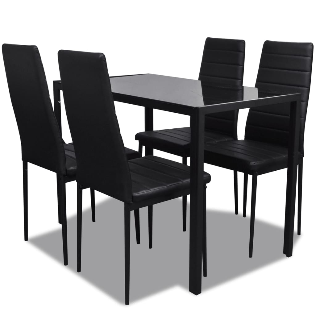 black kitchen table chairs wheelchair automatic vidaxl contemporary dining set with and 4