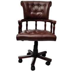 Swivel Chair Brown Wheelchair Zombie Real Leather Chesterfield Captains Office