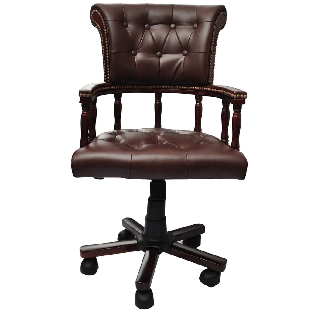 swivel chair amazon herman miller lounge brown real leather chesterfield captains office