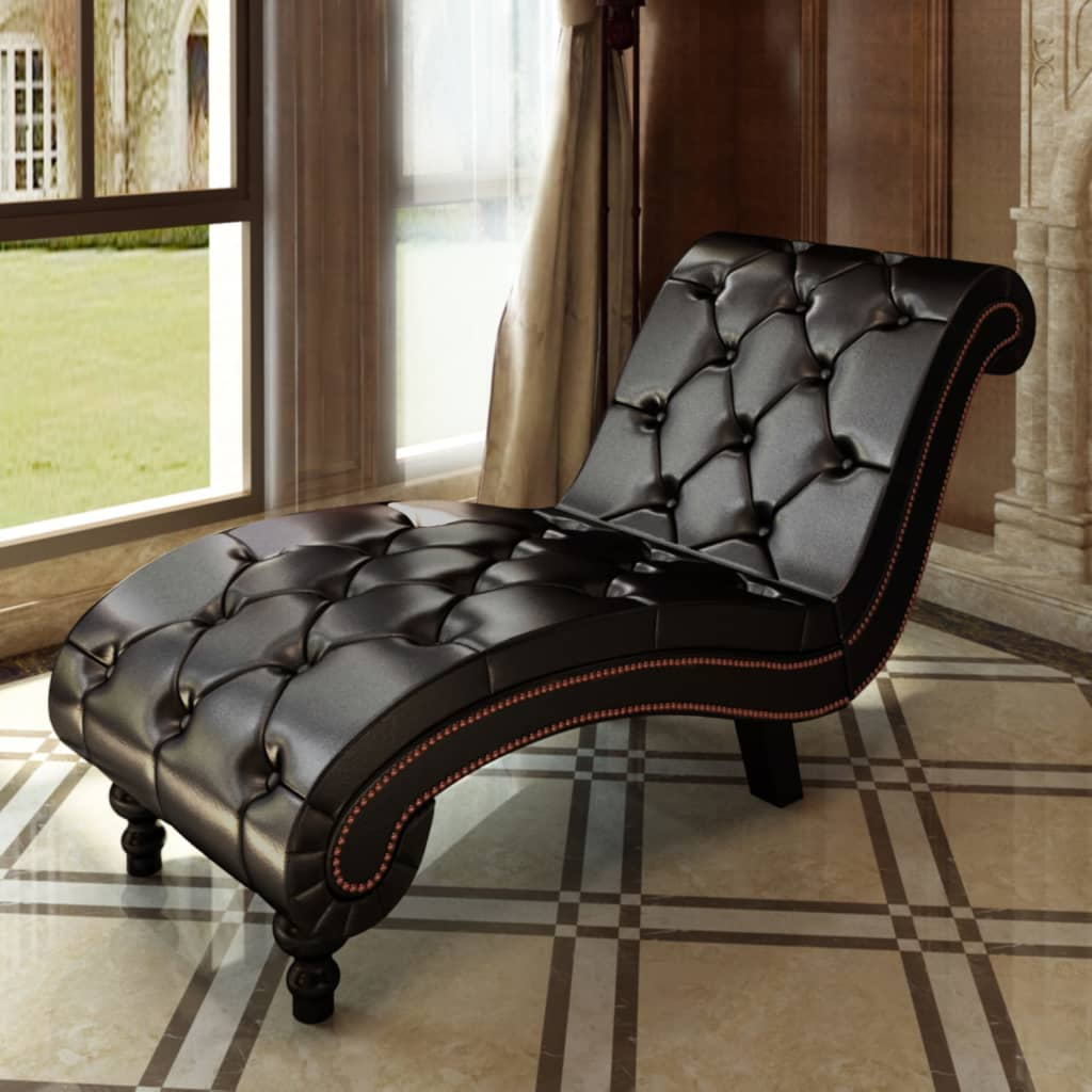 tufted chaise lounge chair alps mountaineering leisure chesterfield brown button vidaxl