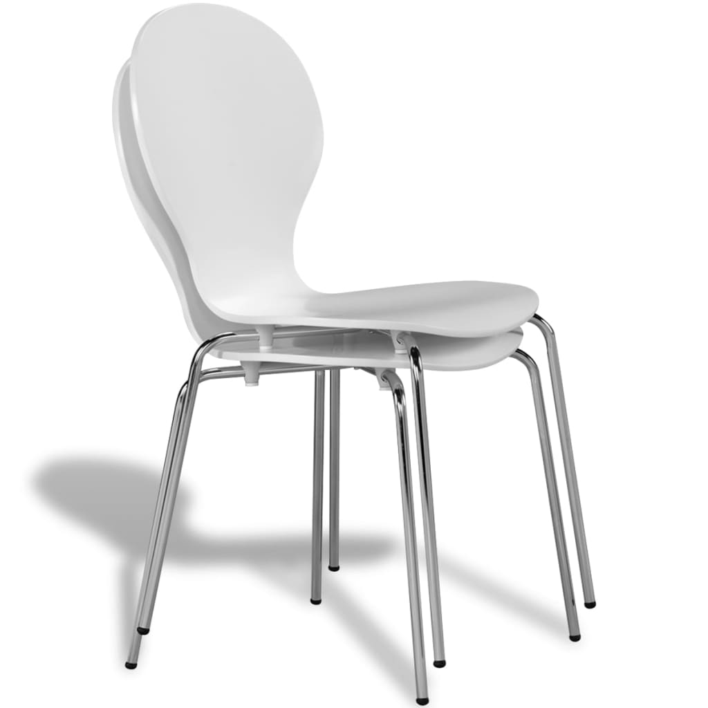 vidaXLcouk  2 Stackable Butterfly Dining Chairs White
