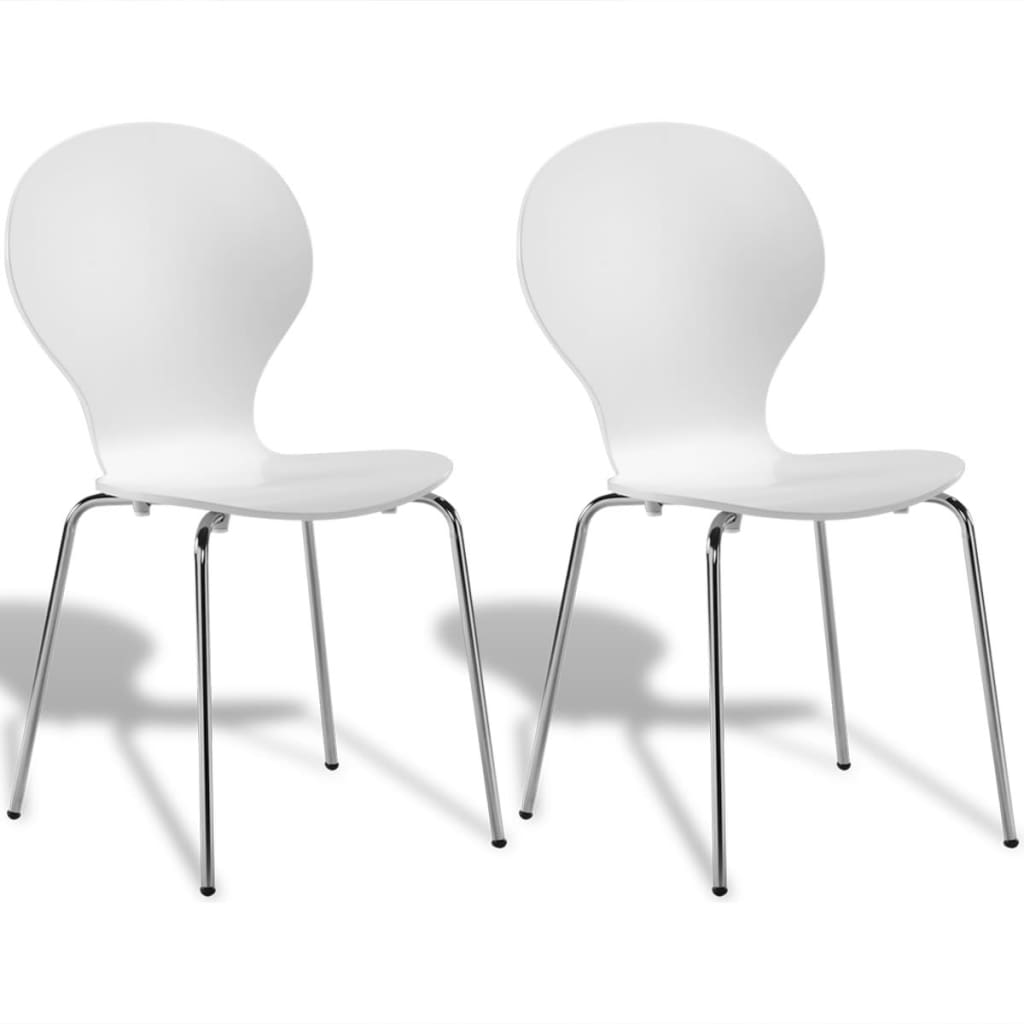 2 Stackable Butterfly Dining Chairs White  vidaXLcouk