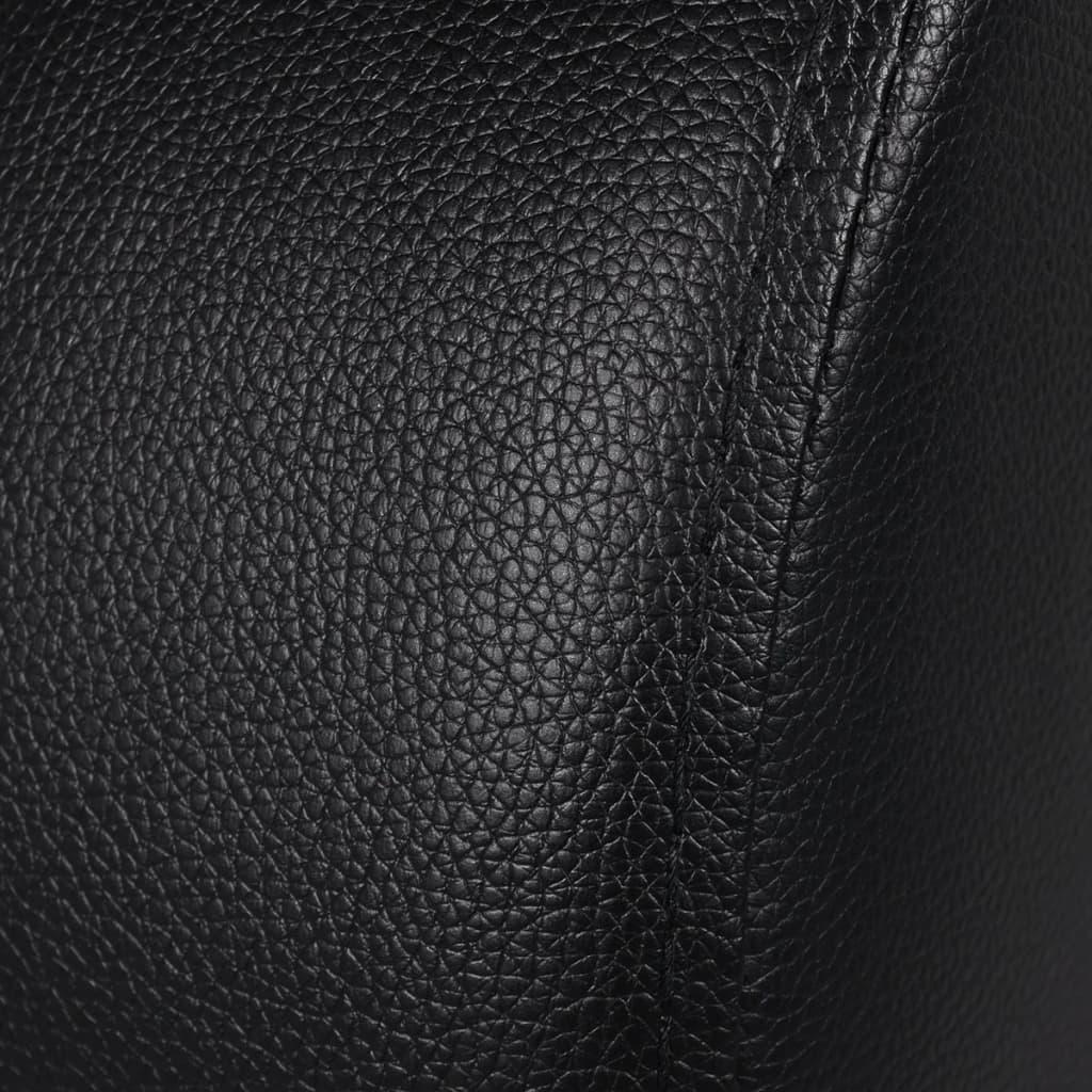 Silln negro reclinable de cuero artificial con 2 plazas  vidaXLes