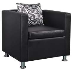 Armchair Pillow Chair Cover Rentals Raleigh Nc Modern Black White Leather Sofa Seat Arm Tub Lounge