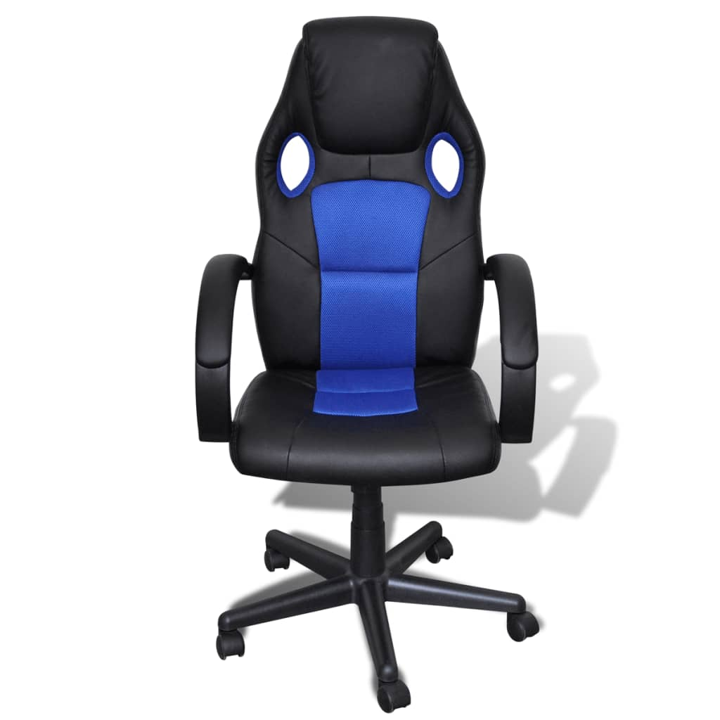 blue leather office chair toddler club artificial height adjustable swivel