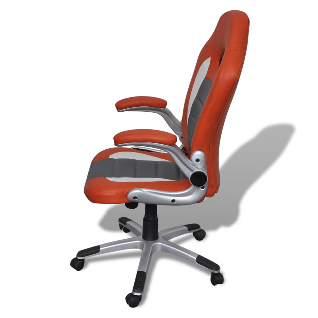 orange leather chairs sure fit chair covers artificial office height adjustable modern