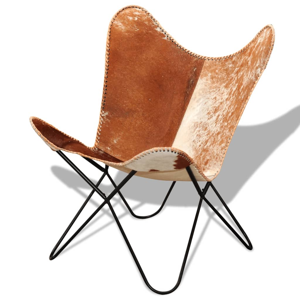 Brown Leather Butterfly Chair Real Cowhide Leather Butterfly Chair Vintage Retro