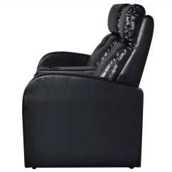 Valencia Black Recliner Leather Sofa Chaise Lounge Sleeper Artificial Home Cinema Reclining 2