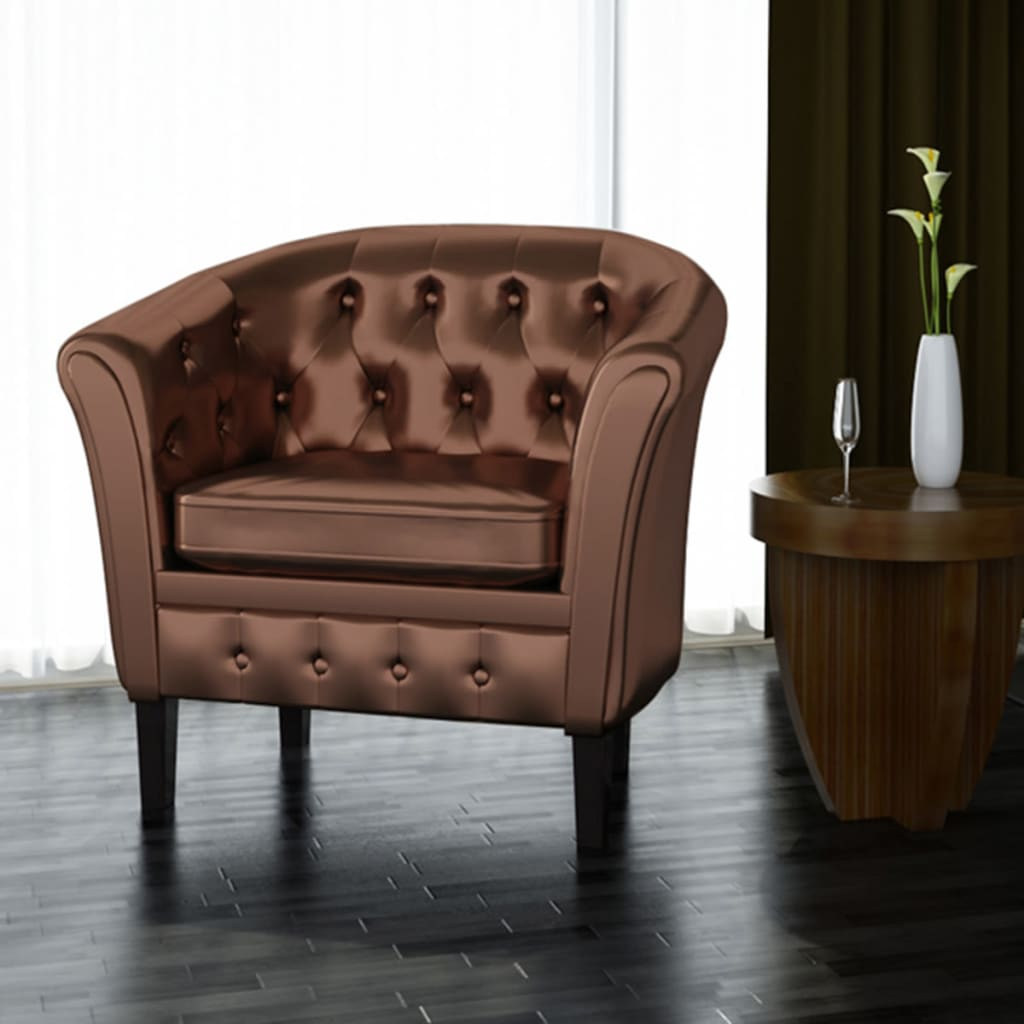 tub chair brown leather ergonomic for gaming artificial armchairs vidaxl