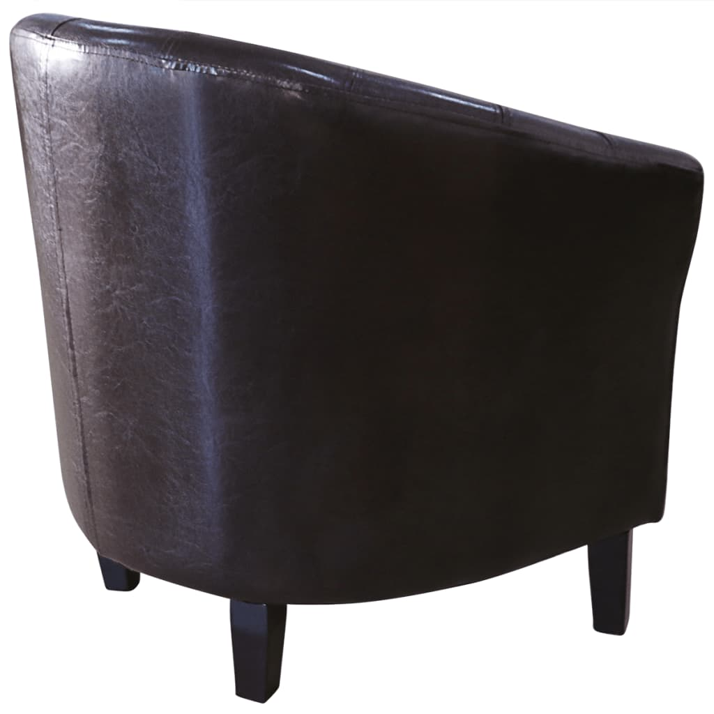 tub chair brown leather grey painted chairs artificial vidaxl