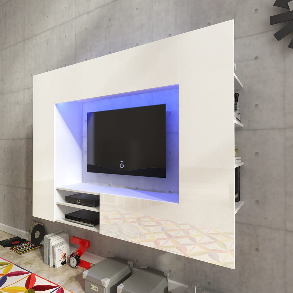 Mueble Tv Pared Vidaxl Centro De Entretenimiento Mueble Tv Pared Con Led 169 2 Cm