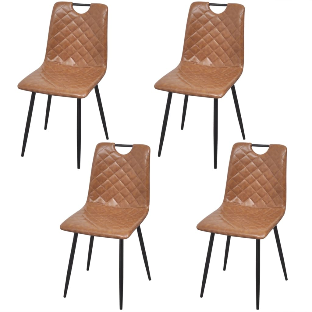 tan leather dining chairs melbourne card table and set vidaxl 4 pcs artificial light brown