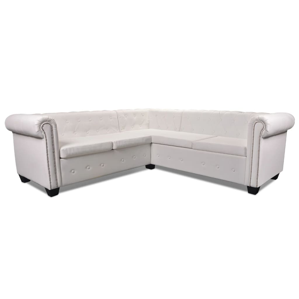 white leather chesterfield corner sofa how many yards of fabric for a sectional vidaxl 5 seater couch