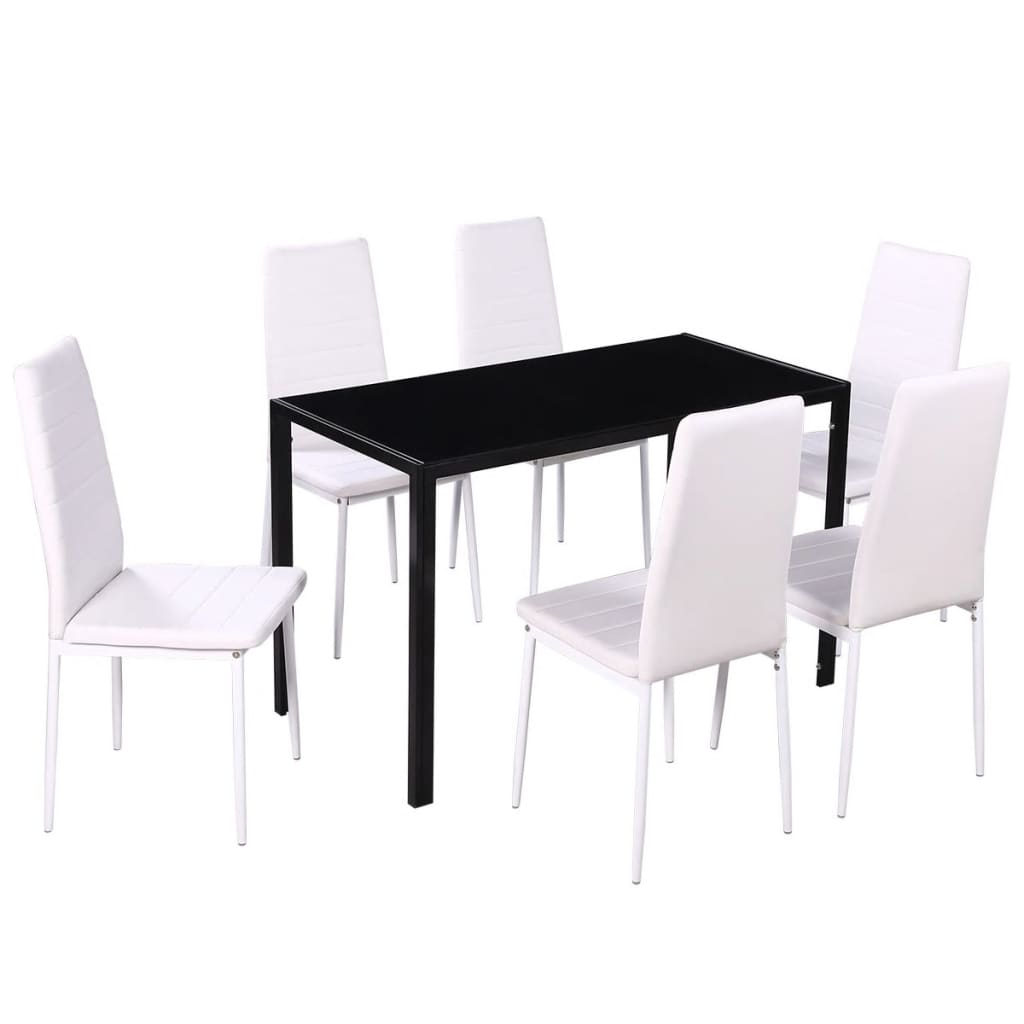 Black And White Dining Chair Vidaxl Seven Piece Dining Table And Chair Set Black And